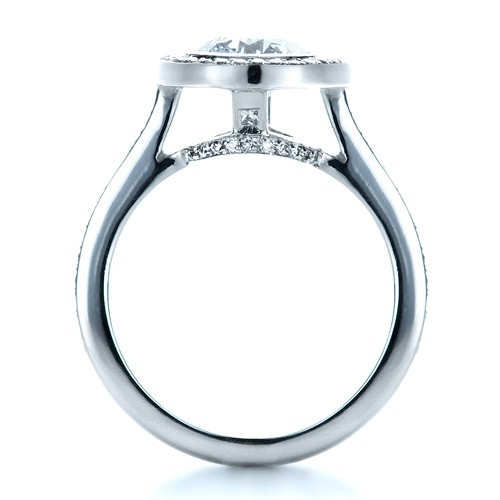 Custom Bezel Halo Engagement Ring - Finger Through View