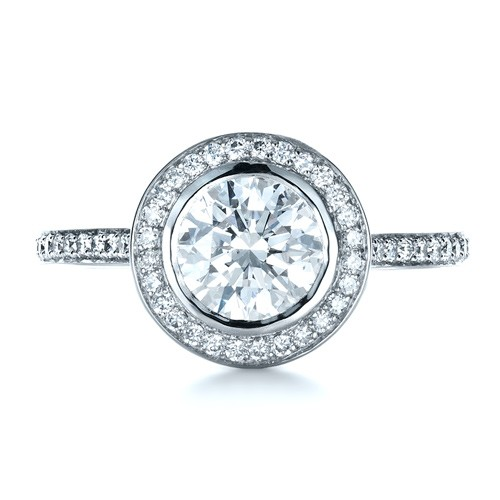 Custom Bezel Halo Engagement Ring - Top View