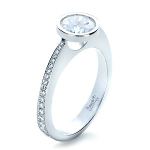 Custom Bezel Set Diamond Engagement Ring - Image