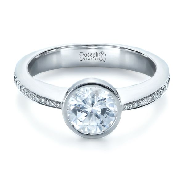 Platinum Platinum Custom Bezel Set Diamond Engagement Ring - Flat View -