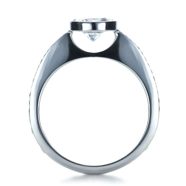 Platinum Platinum Custom Bezel Set Diamond Engagement Ring - Front View -