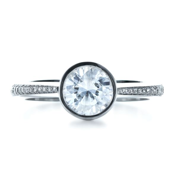 Platinum Platinum Custom Bezel Set Diamond Engagement Ring - Top View -