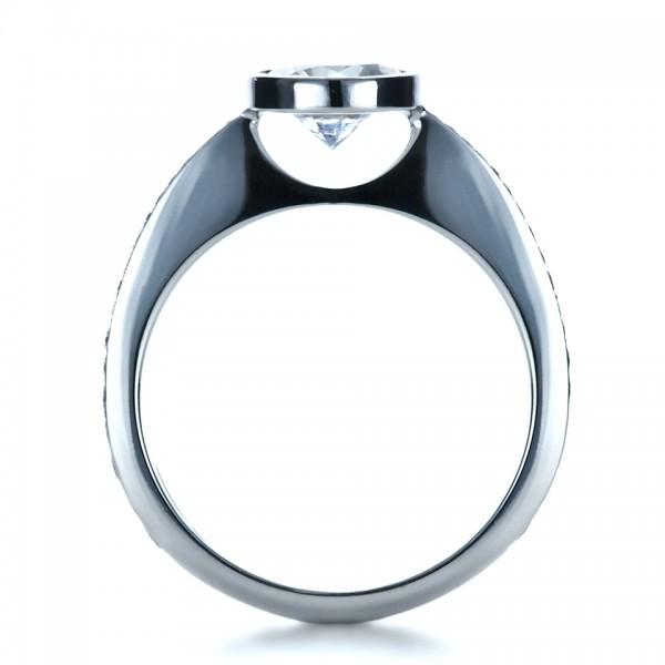 Custom Bezel Set Diamond Engagement Ring - Finger Through View