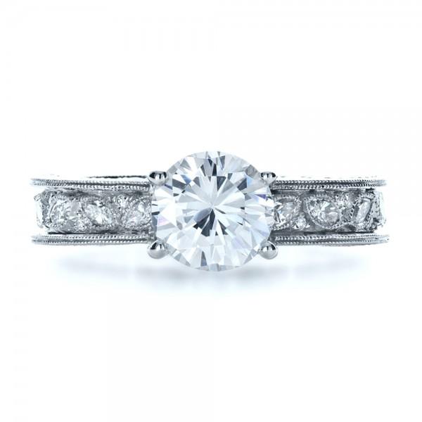 Custom Bezel Set Diamond Engagement Ring - Top View
