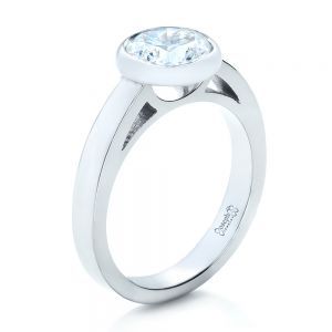 Custom Bezel Set Solitaire Diamond Engagement Ring - Image