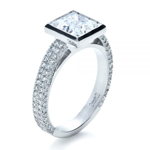18k White Gold Custom Bezel Set And Pave Diamond Engagement Ring - Three-Quarter View -