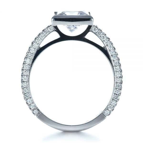 18k White Gold Custom Bezel Set And Pave Diamond Engagement Ring - Front View -