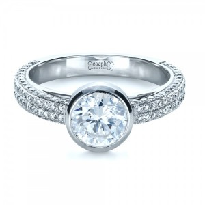 Custom Bezel Set and Pave Diamond Engagement Ring