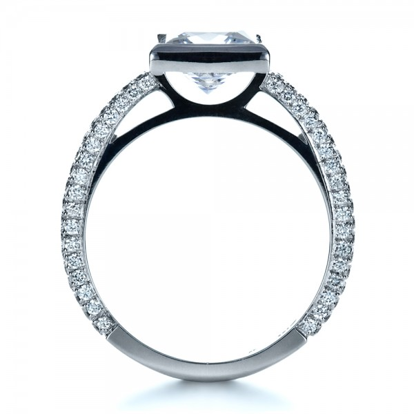 Custom Bezel Set and Pave Diamond Engagement Ring - Finger Through View