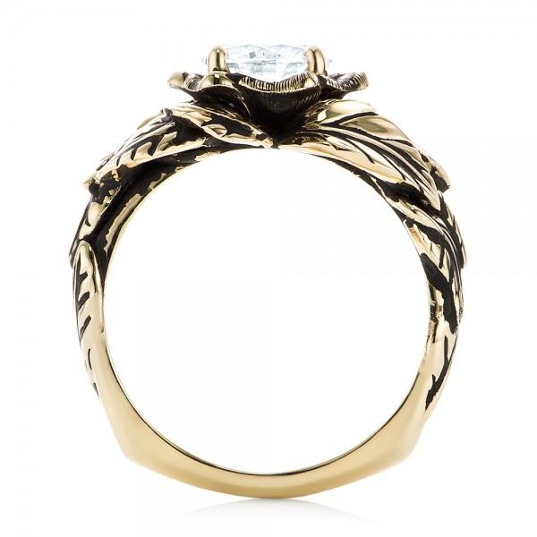 Custom Black Antiqued Diamond Solitaire Engagement Ring - Finger Through View