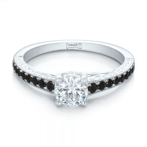 Custom Black Diamond Engagement Ring