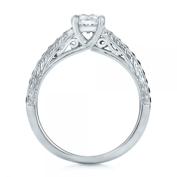 Custom Black Diamond Engagement Ring - Finger Through View