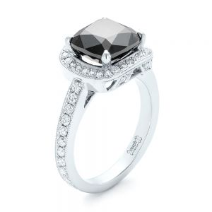 Custom Black Diamond Halo Engagement Ring - Image