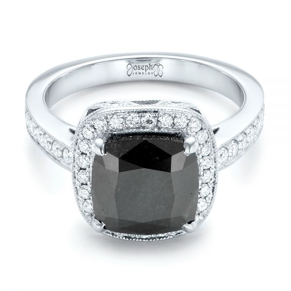 Custom Black Diamond Halo Engagement Ring - Flat View -  102814 - Thumbnail