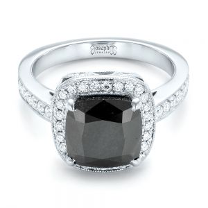 Custom Black Diamond Halo Engagement Ring