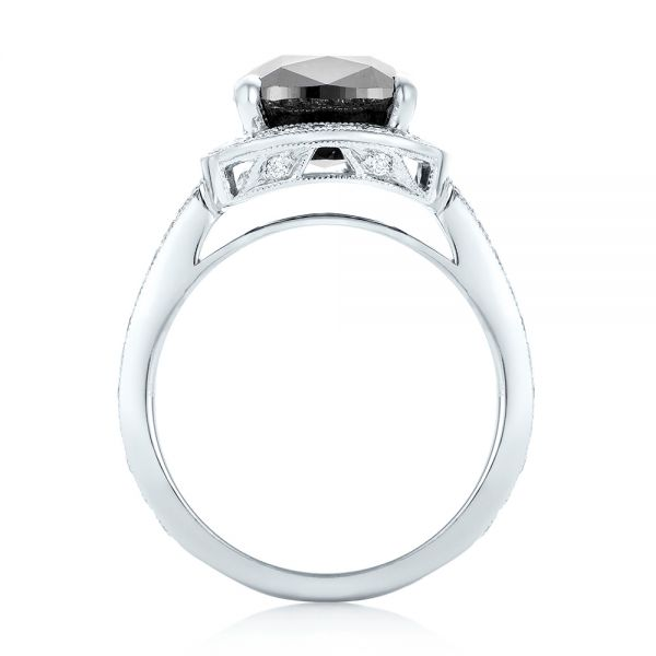 18k White Gold Custom Black Diamond Halo Engagement Ring - Front View -