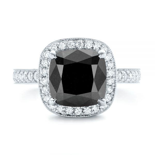 18k White Gold Custom Black Diamond Halo Engagement Ring - Top View -