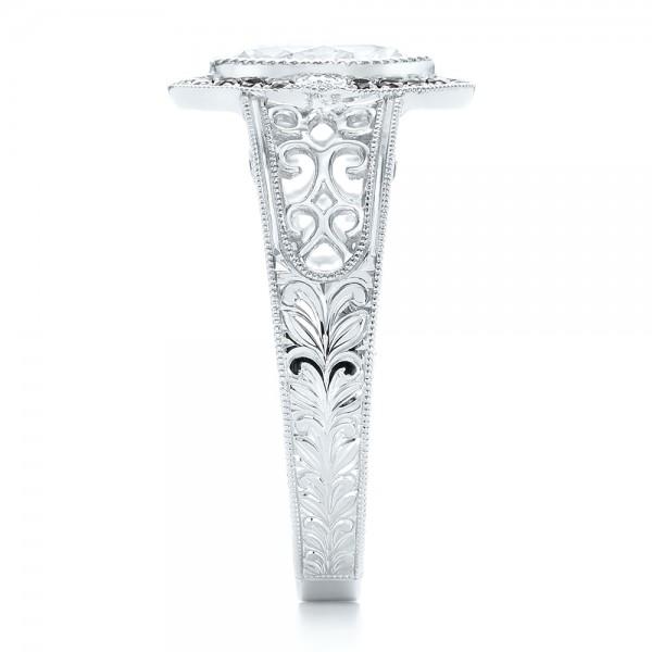 Custom Black Diamond Halo Engagement Ring - Side View