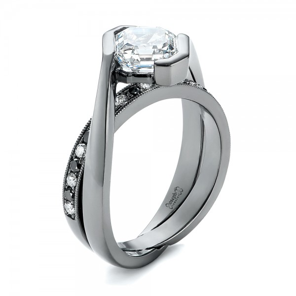 Custom Black and White Diamond Engagement Ring