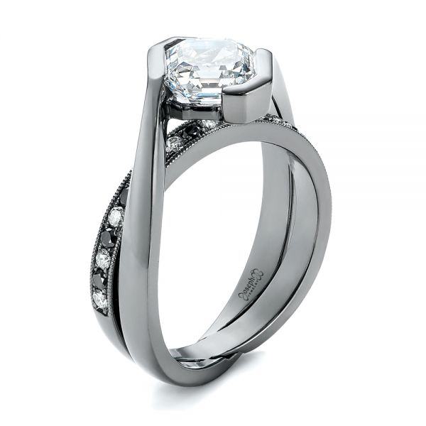 Custom Black and White Diamond Engagement Ring - Image
