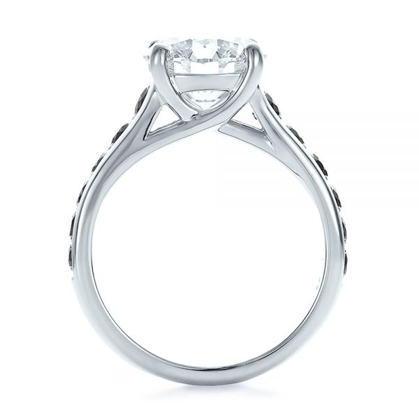 Custom Black and White Diamond Engagement Ring - Front View -  100606 - Thumbnail