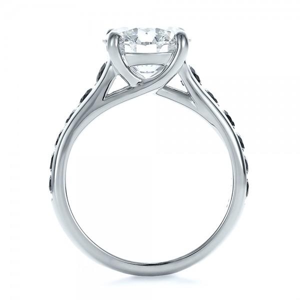 Custom Black and White Diamond Engagement Ring - Finger Through View