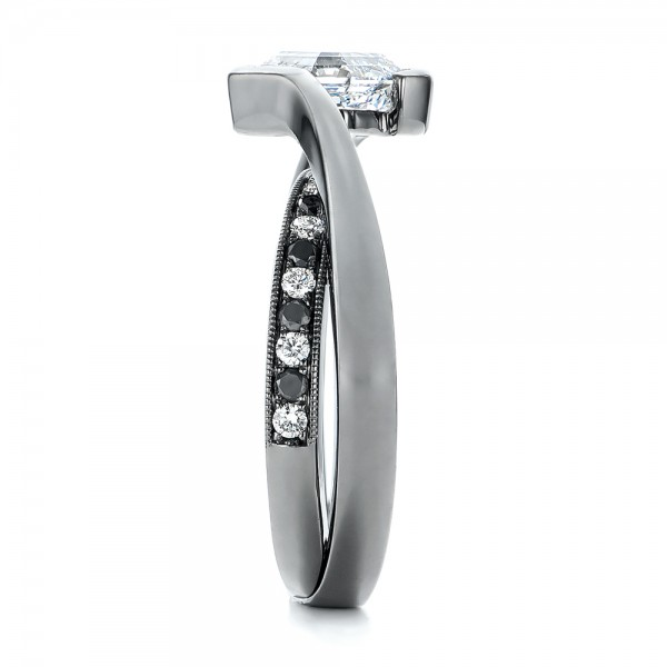 Custom Black and White Diamond Engagement Ring - Side View