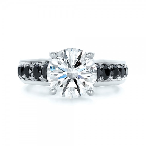Custom Black and White Diamond Engagement Ring - Top View