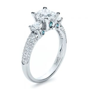 Custom Blue Diamond Engagement Ring - Image