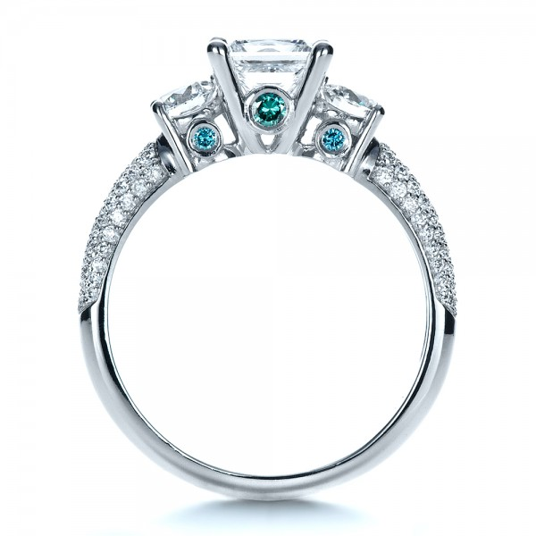 Custom Blue Diamond Engagement Ring - Front View -  1420 - Thumbnail