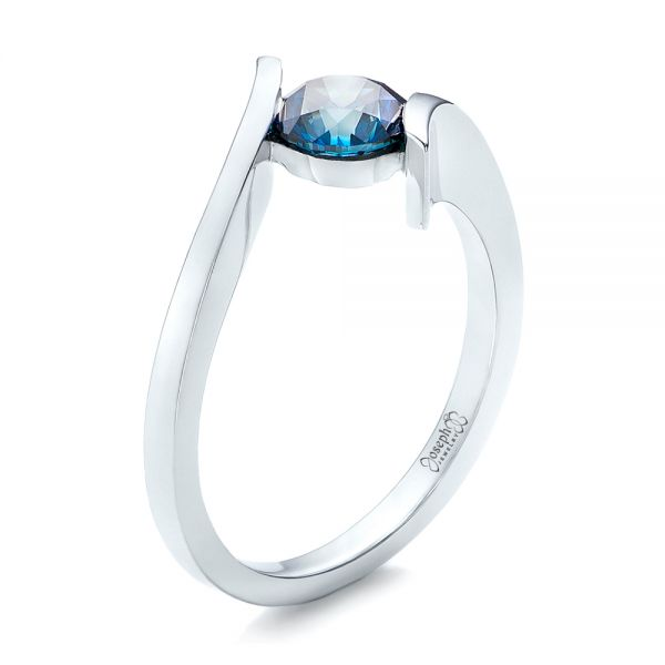 Custom Blue Diamond Solitaire Engagement Ring - Image