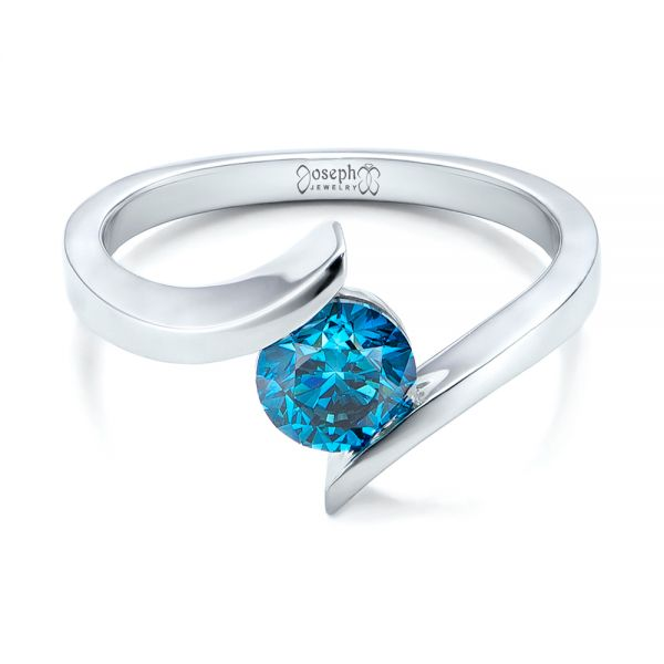 Custom Blue Diamond Solitaire Engagement Ring - Flat View -  102014 - Thumbnail