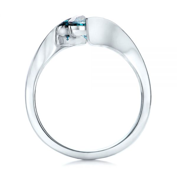 Custom Blue Diamond Solitaire Engagement Ring - Front View -  102014 - Thumbnail