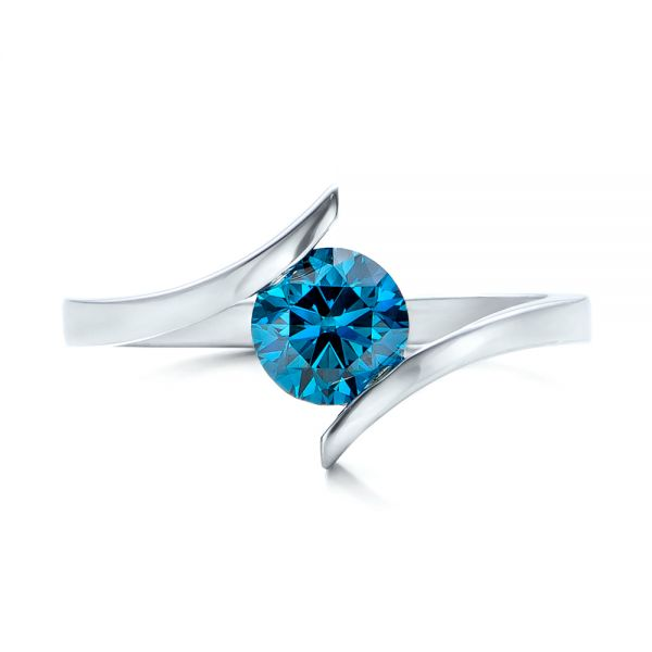 Custom Blue Diamond Solitaire Engagement Ring - Top View -  102014 - Thumbnail