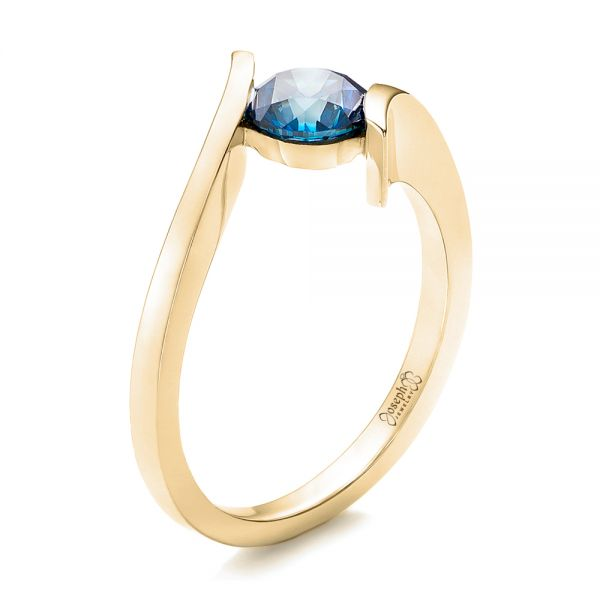 18k Yellow Gold 18k Yellow Gold Custom Blue Diamond Solitaire Engagement Ring - Three-Quarter View -