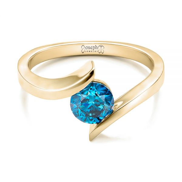 18k Yellow Gold 18k Yellow Gold Custom Blue Diamond Solitaire Engagement Ring - Flat View -