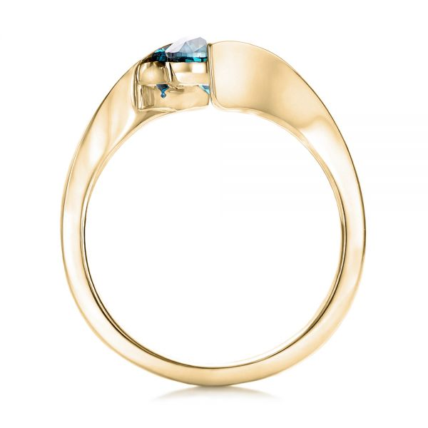 18k Yellow Gold 18k Yellow Gold Custom Blue Diamond Solitaire Engagement Ring - Front View -