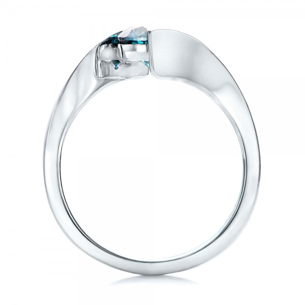 Custom Blue Diamond Solitaire Engagement Ring - Finger Through View