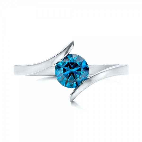 Custom Blue Diamond Solitaire Engagement Ring - Top View