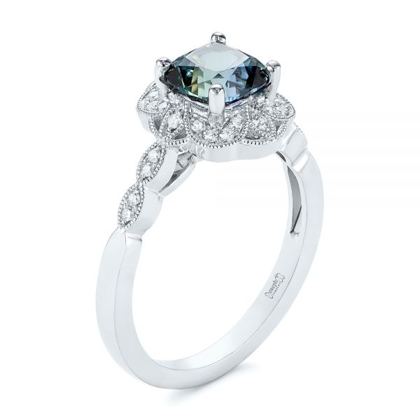 Custom Blue-Green Montana Sapphire and Diamond Engagement Ring - Image