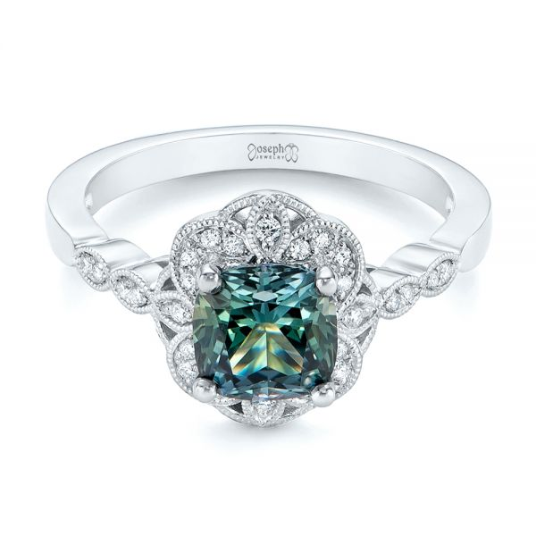 Custom Blue-Green Montana Sapphire and Diamond Engagement Ring - Flat View -  104785 - Thumbnail