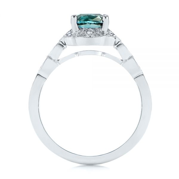 Platinum Custom Blue-green Montana Sapphire And Diamond Engagement Ring - Front View -