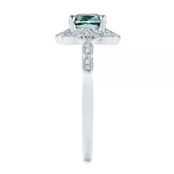 Platinum Custom Blue-green Montana Sapphire And Diamond Engagement Ring - Side View -