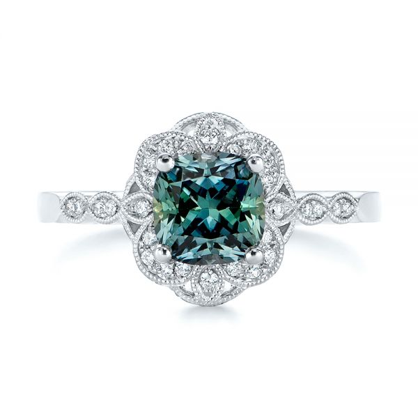 Custom Blue Green Montana Sapphire And Diamond Engagement