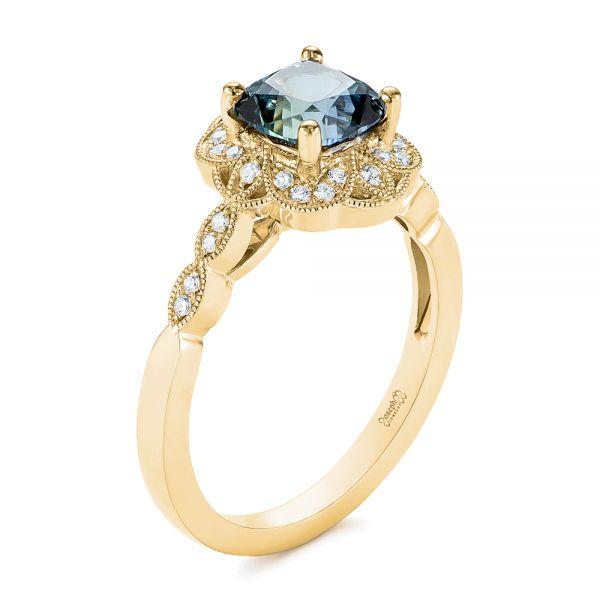 Engagement Rings Jewellery Quarter: 14k Yellow Gold Custom Blue-green Montana Sapphire And