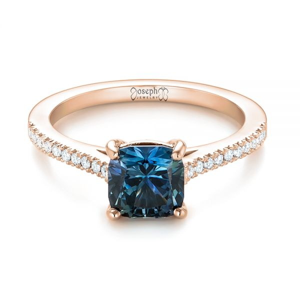 14k Rose Gold 14k Rose Gold Custom Blue-green Sapphire And Diamond Engagement Ring - Flat View -  103590