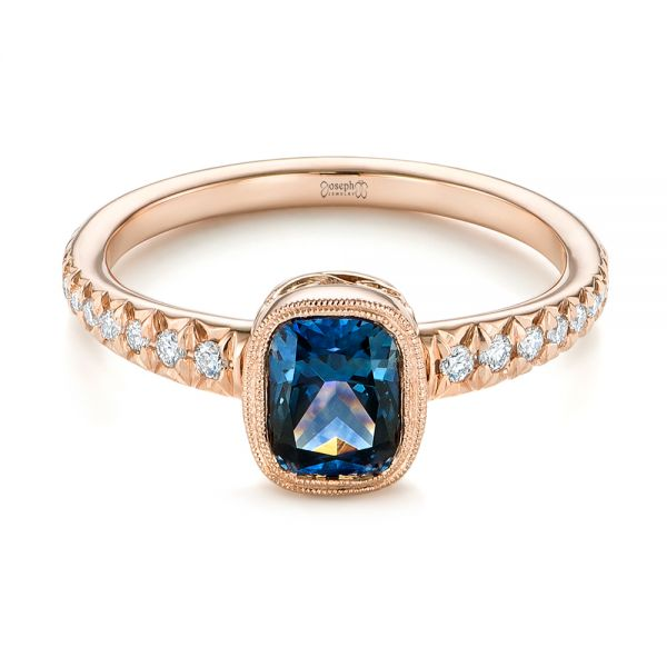 18k Rose Gold 18k Rose Gold Custom Blue-green Sapphire And Diamond Engagement Ring - Flat View -