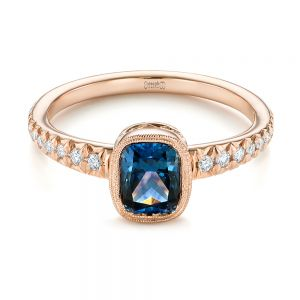 Custom Blue-Green Sapphire and Diamond Engagement Ring