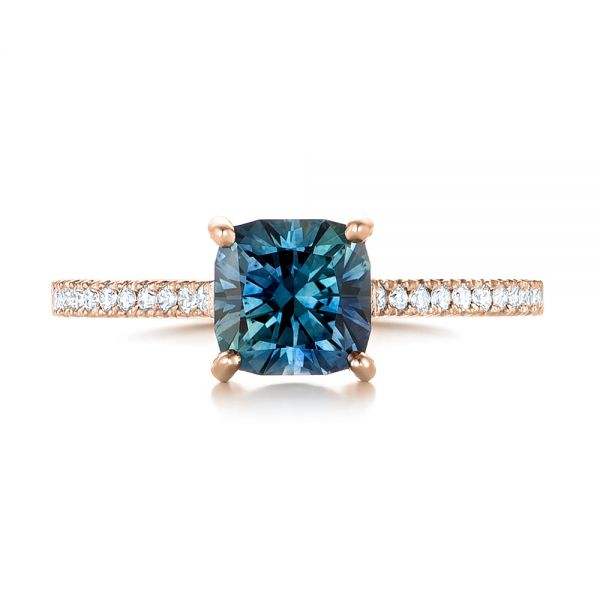 14k Rose Gold 14k Rose Gold Custom Blue-green Sapphire And Diamond Engagement Ring - Top View -  103590