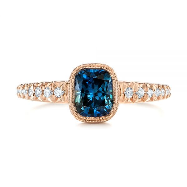 18k Rose Gold 18k Rose Gold Custom Blue-green Sapphire And Diamond Engagement Ring - Top View -
